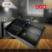 顺德祺居五金祺祥居单槽6545黑金刚纳米厨房手工水槽不锈钢手工盆