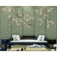 餐厅软包风景壁画 现代中式花鸟壁纸 酒店床头皮革硬包订制 魔方