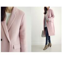 2018便宜厂家货源 冬季女装新款 时尚7分袖毛呢外套西装领纯色系带呢子大衣