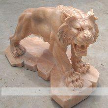 石雕老虎晚霞红十二生肖辟邪风水上山虎动物雕塑园林装饰摆件曲阳万洋雕刻厂家定做
