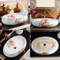 彩金台上彩花陶瓷椭圆形欧式简约大气无孔洗面池洗手盆