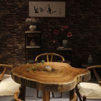 乌金木烘干圆盘茶几茶桌小斑马木实木大板餐桌原木办公桌