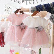 夏季爆款韩国童裙原单蕾丝网纱公主裙短袖大花边礼服裙中小女童连衣裙