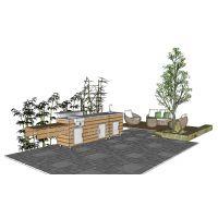 碳化木整体移动式户外中餐厨房餐厅 别墅户外烧烤台 烧烤台设计施工图片