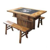 定做室内田园桌子,4人长条火锅烧烤桌,火锅店用八仙桌配凳子
