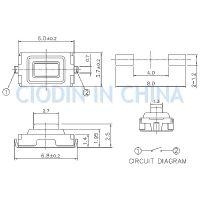 SOFNG TS-1107U 外形尺寸:3.0mm*6.0mm*2.5mm