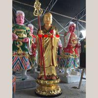 供应玻璃钢彩绘地藏王菩萨像 持地地藏站像 佛像厂家
