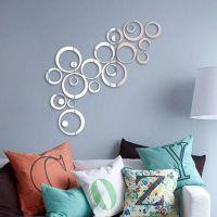 淘宝速卖通货源亚克力3D镜面墙贴圆圈圆环DIY创意墙贴装饰画家装