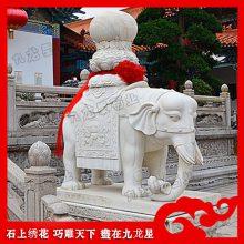 厂里现货花岗岩大象 招财石雕小象一对 鼻子朝上造型