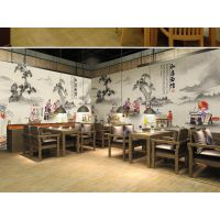 中式餐厅餐馆创意背景墙定制定做室内背景墙壁画