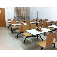 贵阳市食堂桌椅,定制现代中式曲木连体桌椅多色可选
