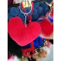 红色心形毛球挂件毛绒球吊穗