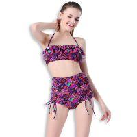 游泳衣女士2017新款成熟高腰裤裙式比基尼小胸聚拢分体泳装bikini
