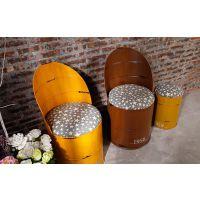 欧式靠背餐椅咖啡椅 做旧创意金属油漆桶酒吧椅