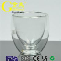 厂家直销金兰品牌耐高温透明吹制双层意式咖啡浓缩玻璃杯
