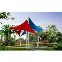 彩色膜布景观小品公园反吊膜结构膜伞PVDF大型园林张拉膜棚