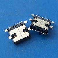 TYPE C USB 3.1青蛙脚母座16P 24P 四脚全贴SMT 带定位柱 无后盖