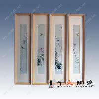 禅意草虫四条屏瓷板画 景德镇瓷板画定制厂家价格
