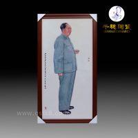 毛主席像瓷板画 毛主席画像瓷板画 手绘伟人瓷板画定制