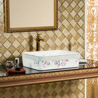 彩金方形洗手盆熔盛陶瓷金色现代台上盆简约欧式风单孔洗手盆