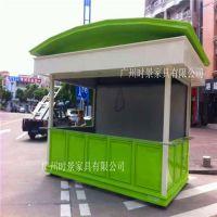 广州移动售货亭 烧烤售卖亭 实木手推花车 广场木制零售车