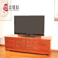 立信红DSG-001A/B八斗电视柜古典中式雕花双层抽屉视听柜红木电视柜