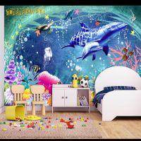 定制个性墙纸厂家 餐厅酒店装修3d壁纸 儿童房海底世界无缝壁画魔方
