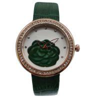 厂家订制2017年新款女式镶钻锌合金真皮表带石英手表