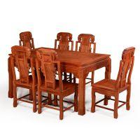 红木家具中式花梨木餐桌餐台一桌六椅组合长方形饭桌全红木餐桌椅