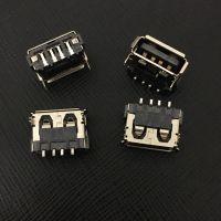 厂家直销供应USB母座 短体10.0长 高度6.5MM 前脚插板 端子贴板