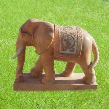 石雕大象 晚霞红看门镇宅风水如意象摆件一对曲阳万洋雕刻厂家现货加定做