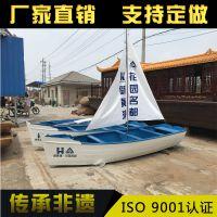 上海船厂家纯手工观光木船 欧式手划船 仿古带帆船木船手工船 公园摆件