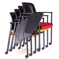 写字板学习椅 众晟家具网布会议椅 学习记录可重叠培训椅厂家