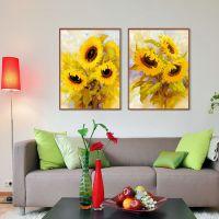 喷绘油画批发 现代简欧客厅装饰画 软装玄关挂画 竖版印象向日葵