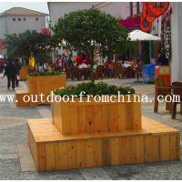 批发商业广场木质景观隔离花箱 店铺隔离组合花架