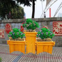 沧州风景木质花箱 防腐木组合花盆 园林种植花箱