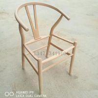 批发Y椅实木白茬餐椅北欧实木椅子白茬餐厅酒店休闲餐椅白茬扶手靠背餐椅白坯