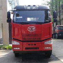 解放J6小三轴平板运输车拉150挖机上高速专用拖车