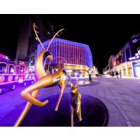 抽象雕像不锈钢抽象小鹿雕塑广东原著雕塑厂家商业广场公园摆件