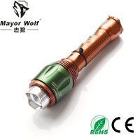 厂家批发 L2强光变焦手电筒 led充电手电筒 户外骑行led自行车灯