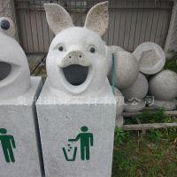 石雕猪头垃圾桶园林景观公园石头垃圾筒城市街道垃圾箱石头摆件