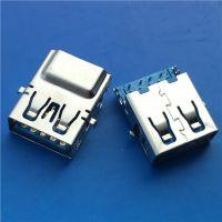 USB 3.0沉板9P母座沉板4.40MM蓝胶H=6.9直边四个固定脚蓝胶