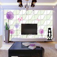 佳舍美居定做电视背景墙纸3d大型无缝壁画整张紫色蒲公英客厅卧室壁纸墙布