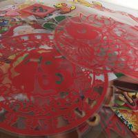 深圳UV,元旦春节双面窗贴,玻璃透明贴纸