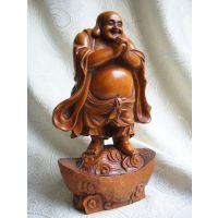 供应元宝罗汉恭喜发财黄杨木木雕摆件 手工雕琢细致弥勒佛工艺品摆件