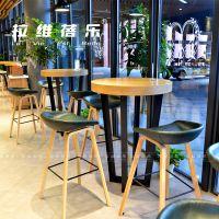上海星巴克时尚高吧桌咖啡厅酒吧实木吧桌定制厂家