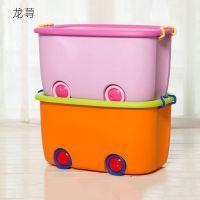 特大号卡通滑轮收纳箱储物带盖儿童衣服玩具整理箱塑料箱厂家批发