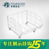 厂家直销优质 商超带轮货篮 可折叠货架配件 超市网篮 喷漆层篮