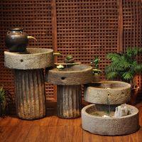 大理石雕仿古流水磨盘室内景观加湿器摆件雕塑