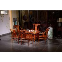 红木茶桌图片打磨-如金红木茶桌椅组合6件套-家居中式茶桌椅批发